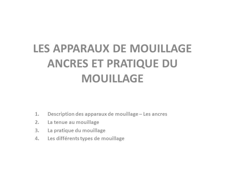 LES APPARAUX DE MOUILLAGE ANCRES ET PRATIQUE DU MOUILLAGE
