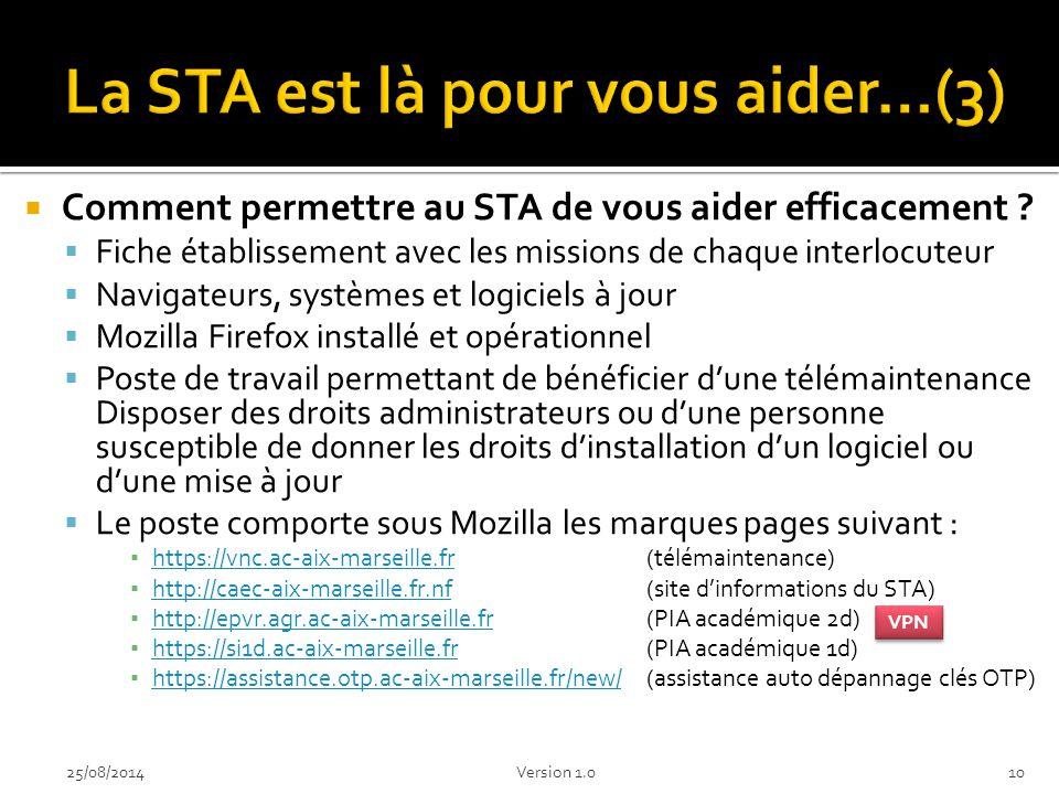 La STA est là pour vous aider…(3)