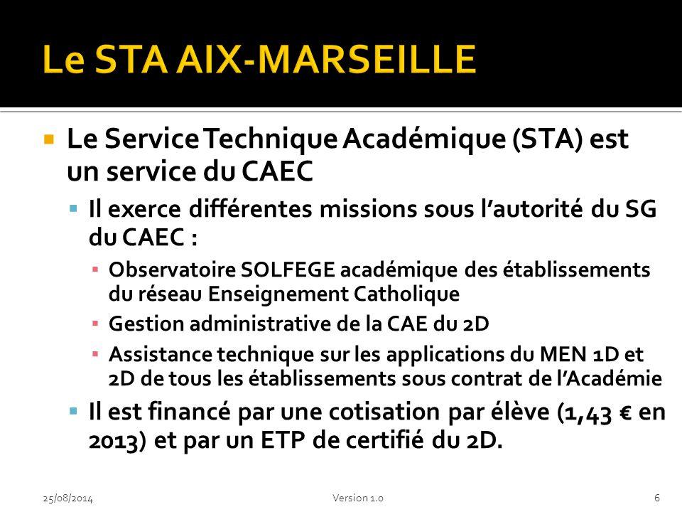 Le STA AIX-MARSEILLE Le Service Technique Académique (STA) est un service du CAEC. Il exerce différentes missions sous l'autorité du SG du CAEC :