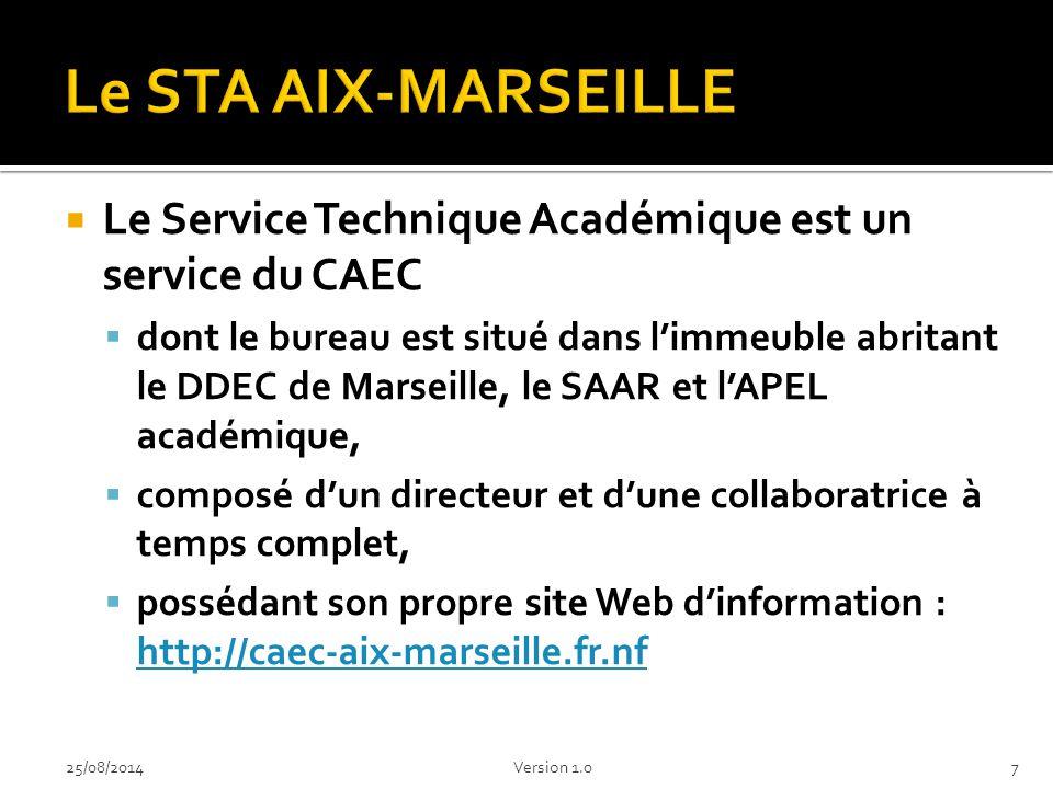 Le STA AIX-MARSEILLE Le Service Technique Académique est un service du CAEC.