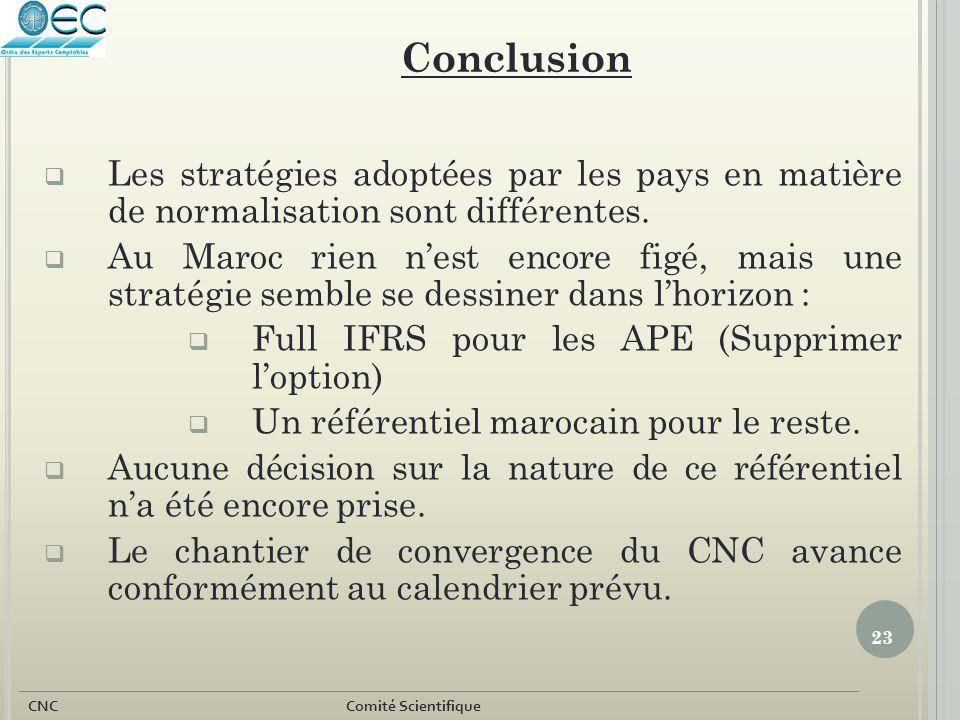 Conclusion Les stratégies adoptées par les pays en matière de normalisation sont différentes.