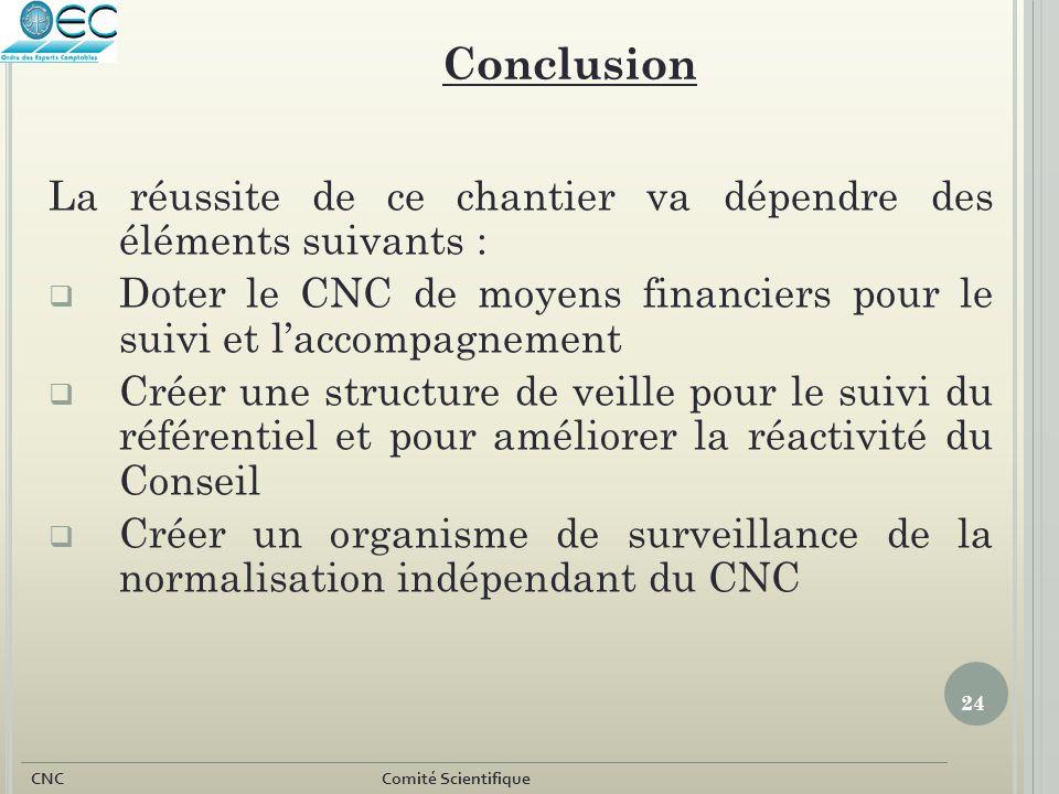 Conclusion La réussite de ce chantier va dépendre des éléments suivants : Doter le CNC de moyens financiers pour le suivi et l'accompagnement.