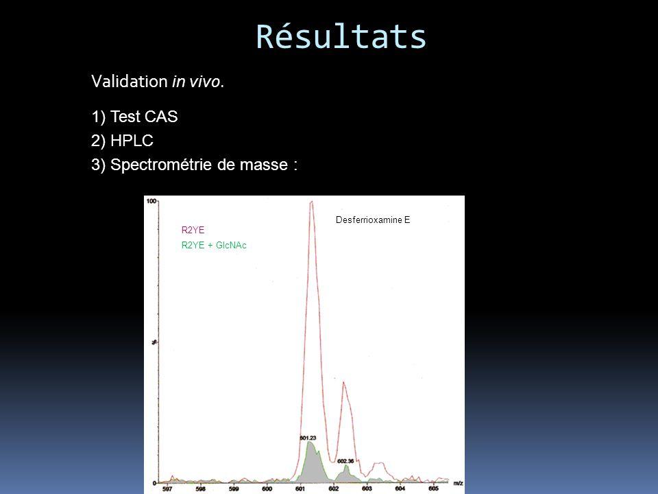 Résultats Validation in vivo. 1) Test CAS 2) HPLC