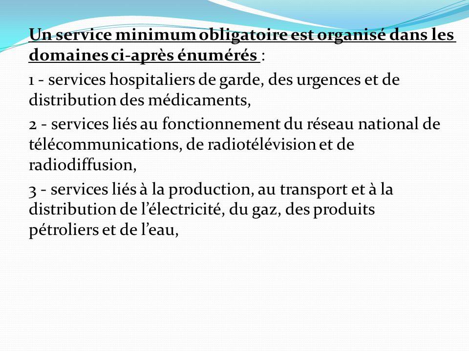 Un service minimum obligatoire est organisé dans les domaines ci-après énumérés :