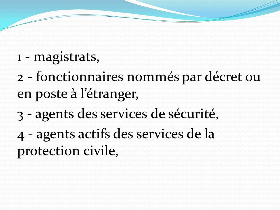 1 - magistrats, 2 - fonctionnaires nommés par décret ou en poste à l'étranger, 3 - agents des services de sécurité, 4 - agents actifs des services de la protection civile,