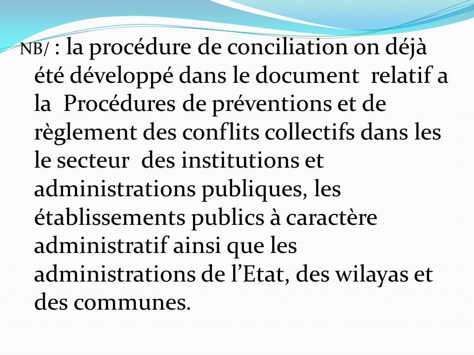 NB/ : la procédure de conciliation on déjà été développé dans le document relatif a la Procédures de préventions et de règlement des conflits collectifs dans les le secteur des institutions et administrations publiques, les établissements publics à caractère administratif ainsi que les administrations de l'Etat, des wilayas et des communes.