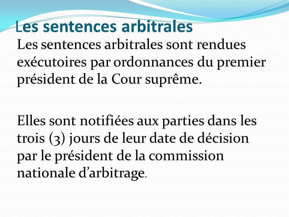 Les sentences arbitrales