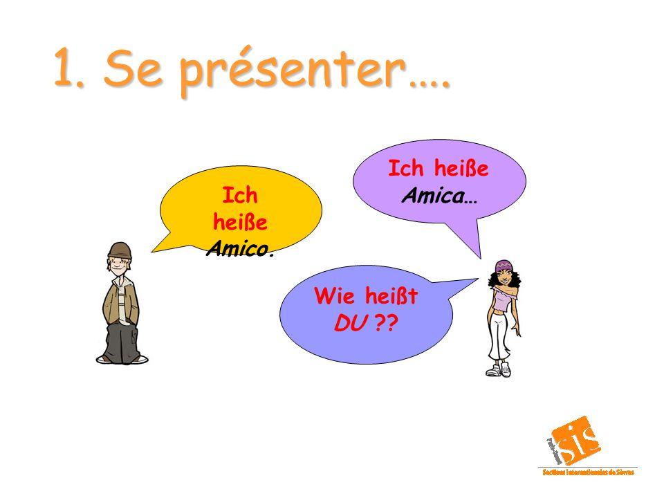 1. Se présenter…. Ich heiße Amica… Ich heiße Amico. Wie heißt DU