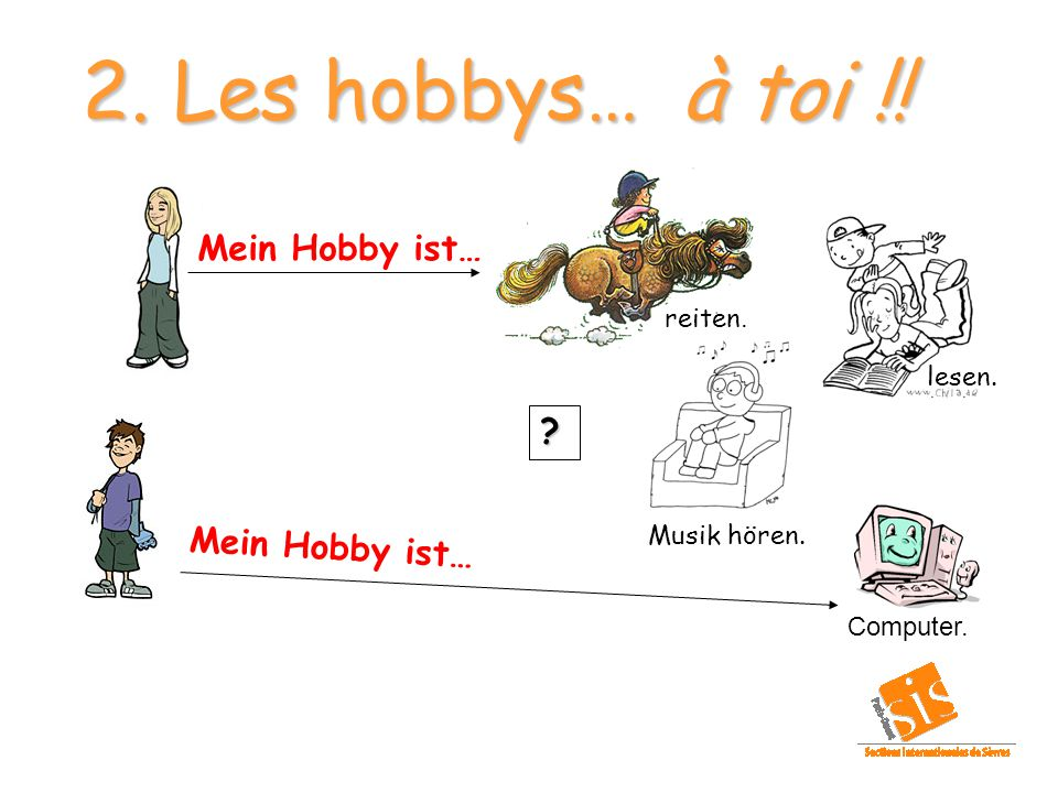 2. Les hobbys… à toi !! Mein Hobby ist… reiten. lesen. Musik hören.