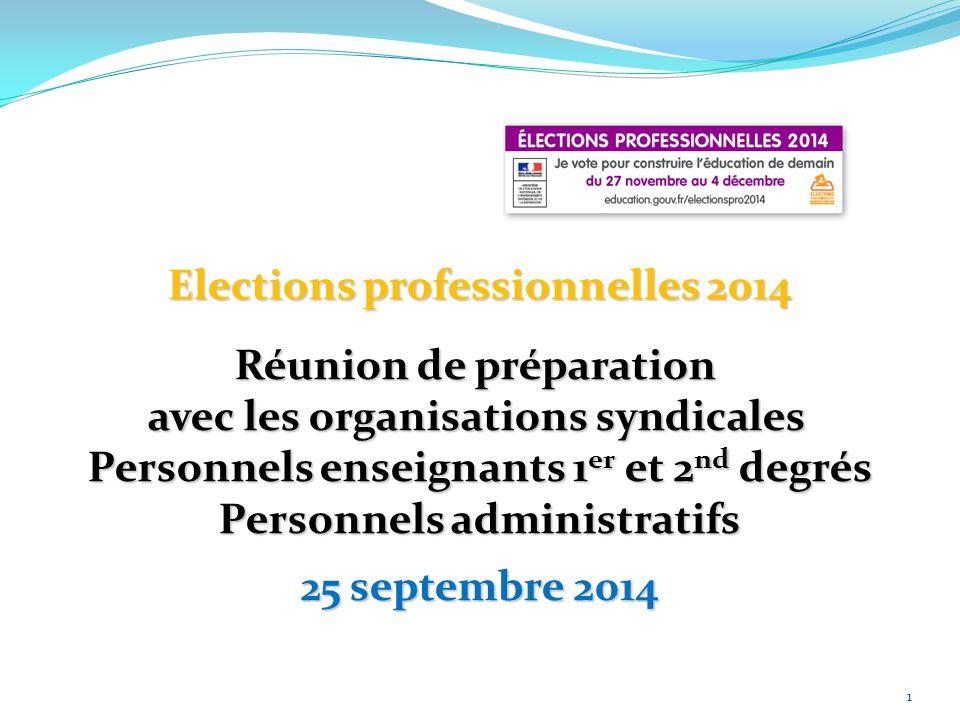 Elections professionnelles 2014 Réunion de préparation
