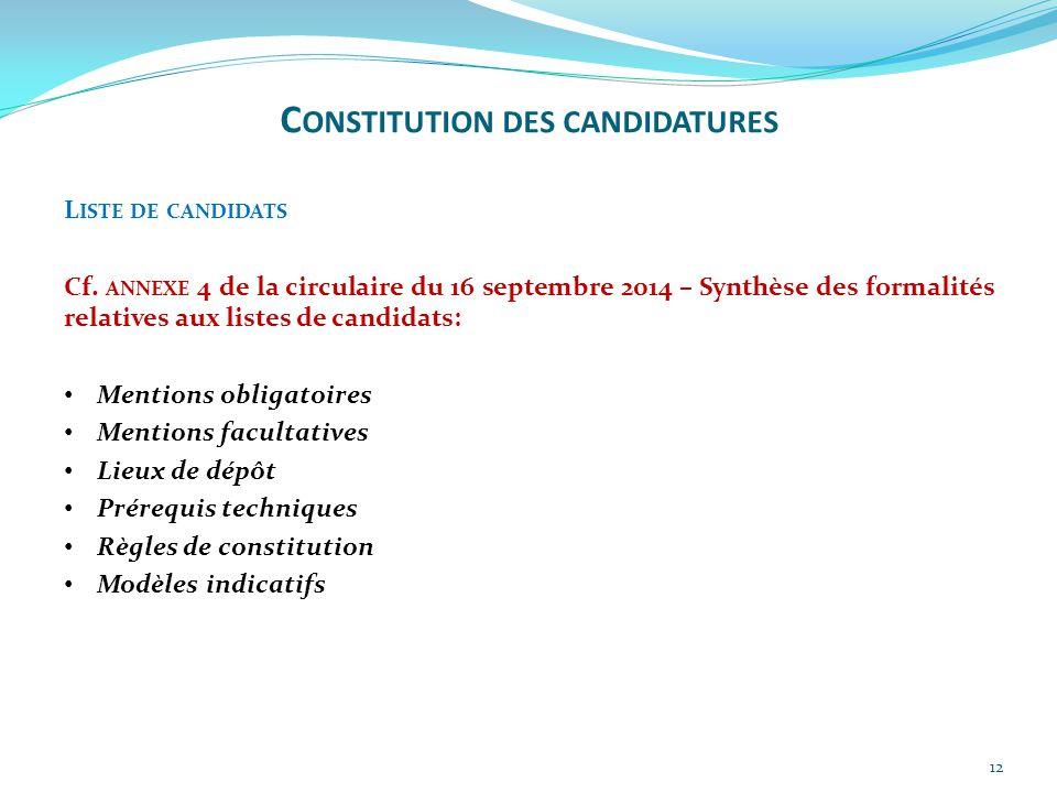 Constitution des candidatures