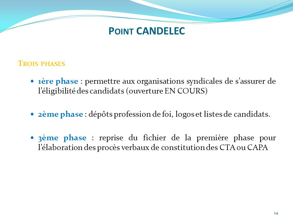 Point CANDELEC Trois phases