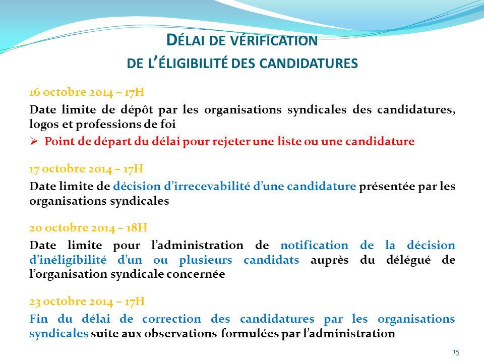 Délai de vérification de l'éligibilité des candidatures