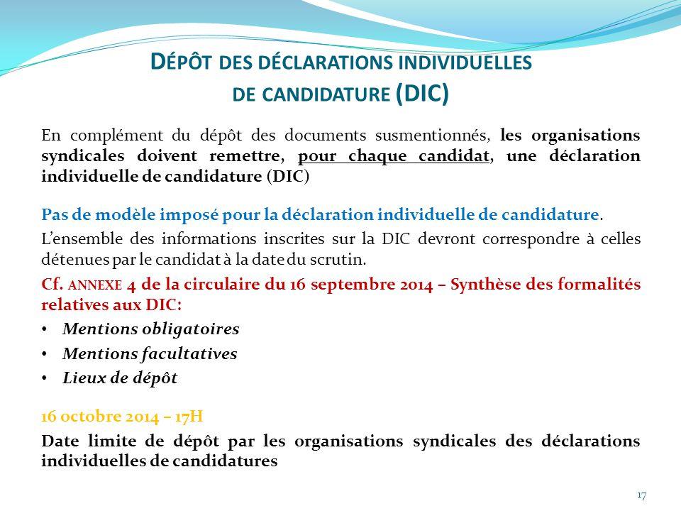 Dépôt des déclarations individuelles de candidature (DIC)
