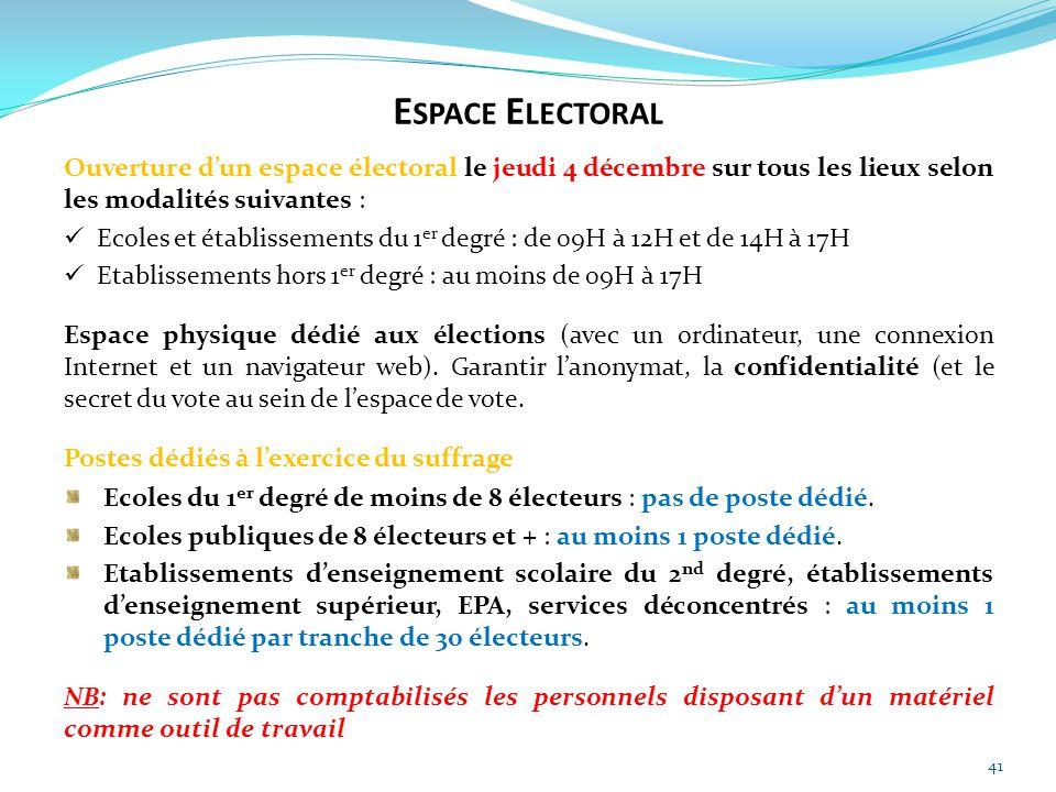 Espace Electoral Ouverture d'un espace électoral le jeudi 4 décembre sur tous les lieux selon les modalités suivantes :