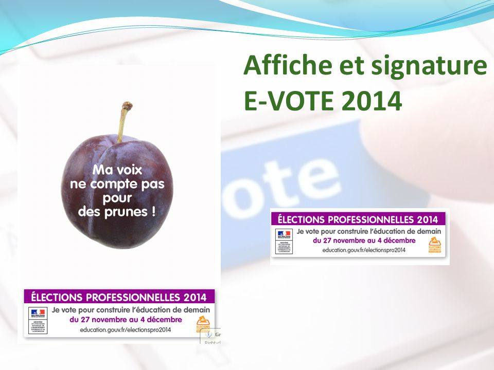 Affiche et signature E-VOTE 2014