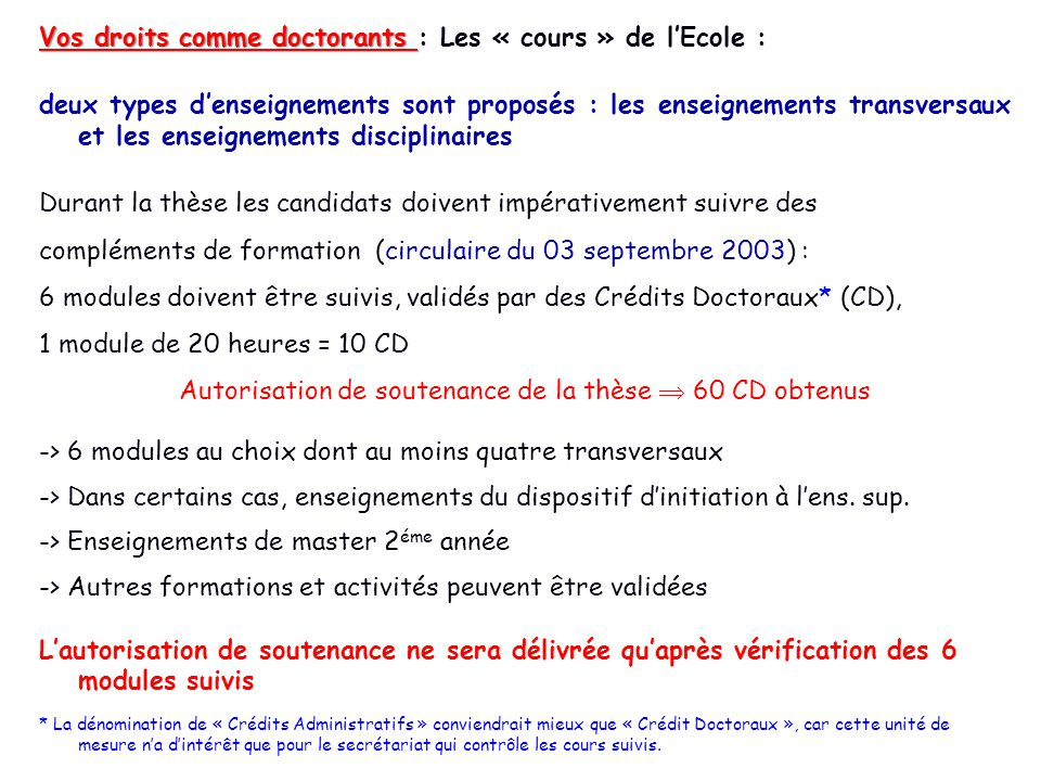 Autorisation de soutenance de la thèse  60 CD obtenus