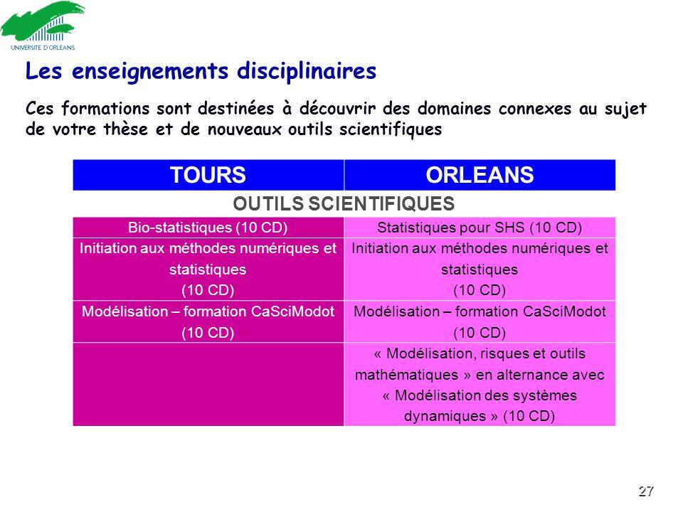 Les enseignements disciplinaires TOURS ORLEANS