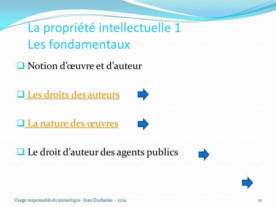 La propriété intellectuelle 1 Les fondamentaux