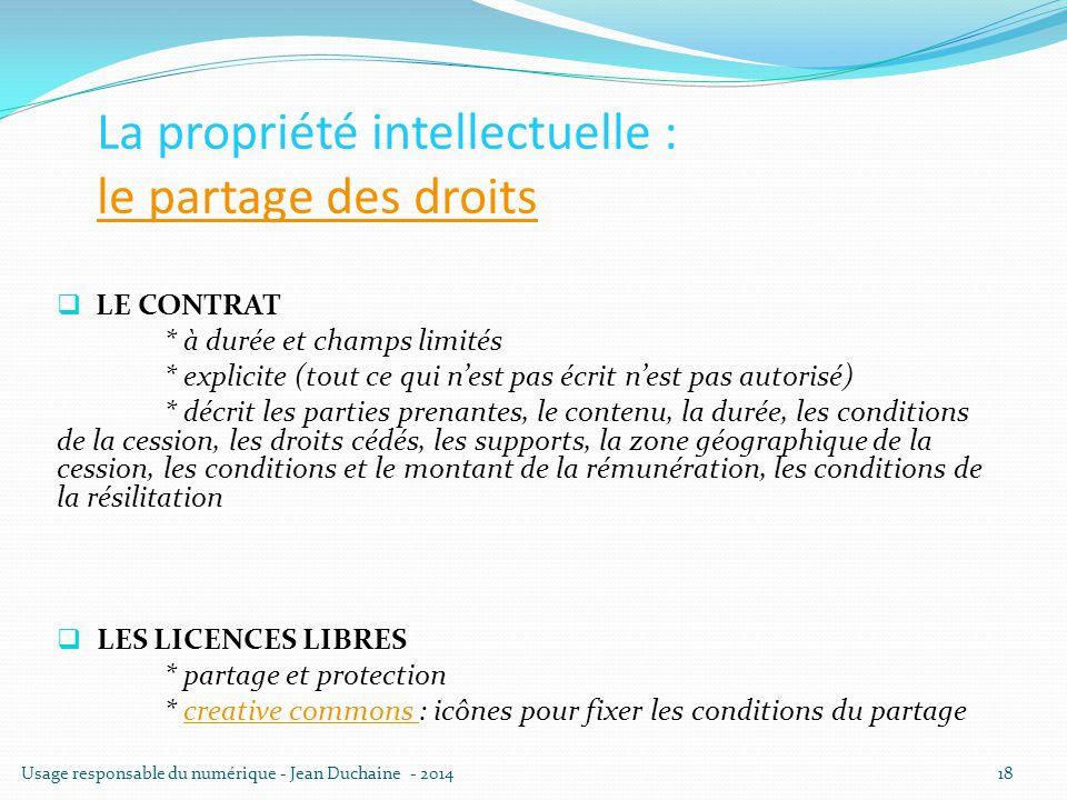 La propriété intellectuelle : le partage des droits