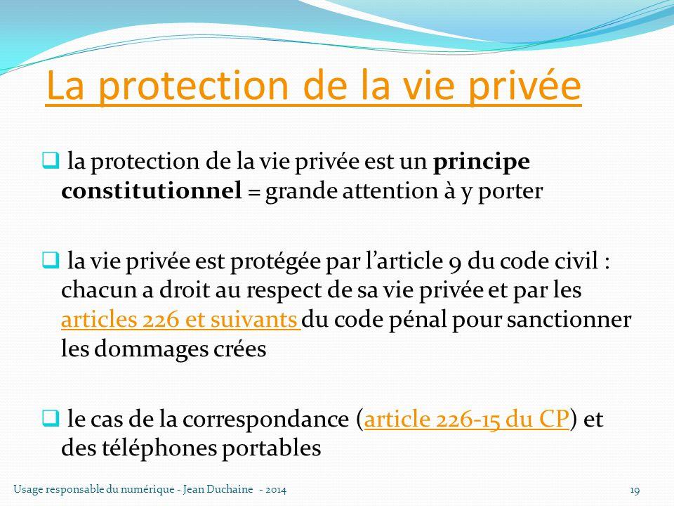 La protection de la vie privée