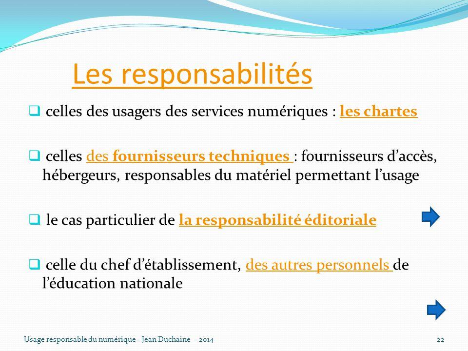 Les responsabilités celles des usagers des services numériques : les chartes.