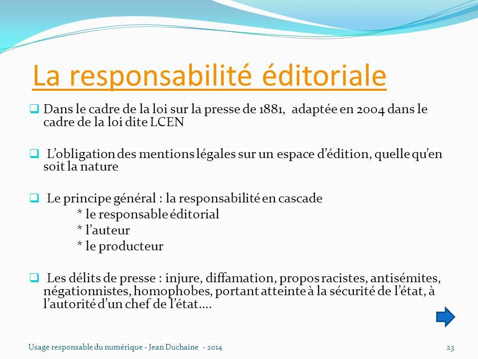 La responsabilité éditoriale