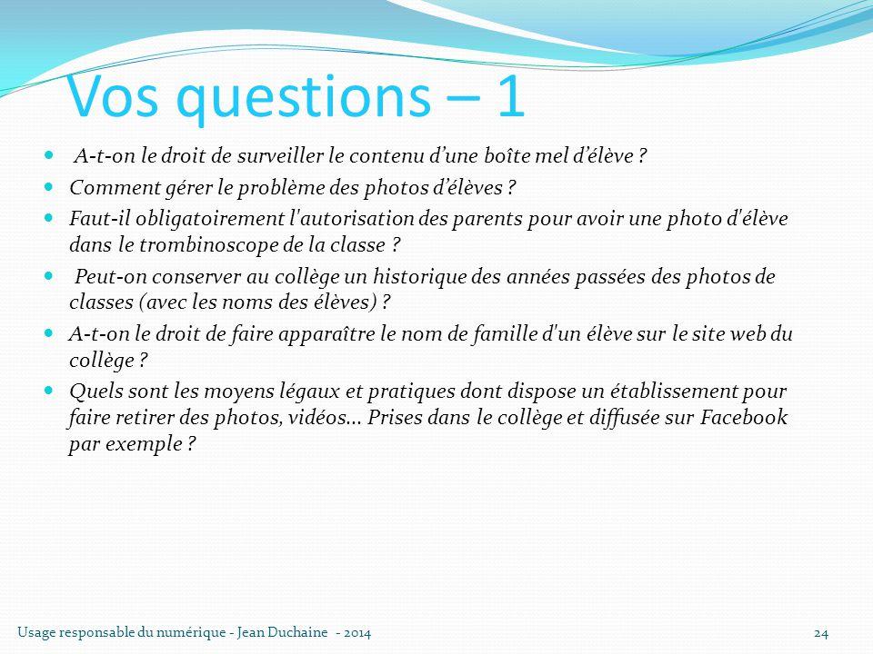 Vos questions – 1 A-t-on le droit de surveiller le contenu d'une boîte mel d'élève Comment gérer le problème des photos d'élèves