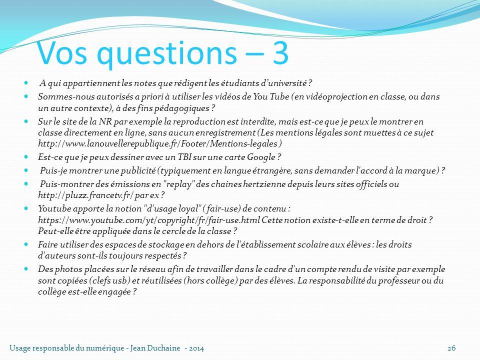 Vos questions – 3 A qui appartiennent les notes que rédigent les étudiants d'université