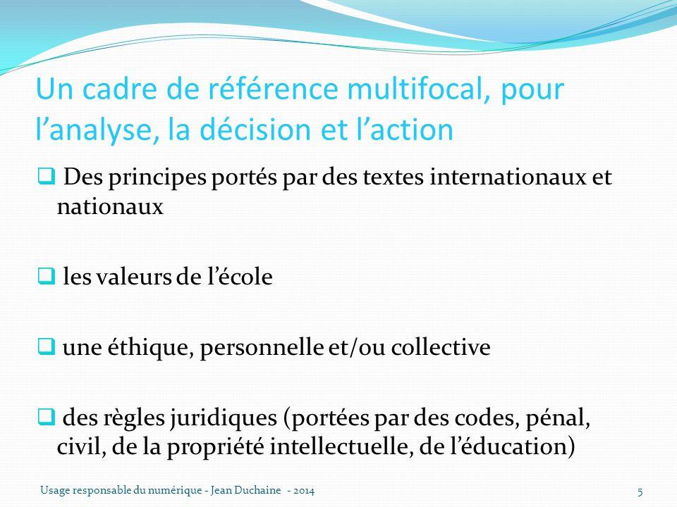 Un cadre de référence multifocal, pour l'analyse, la décision et l'action