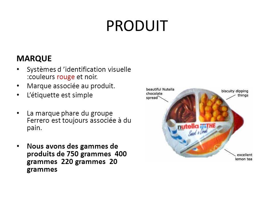 PRODUIT MARQUE. Systèmes d 'identification visuelle :couleurs rouge et noir. Marque associée au produit.