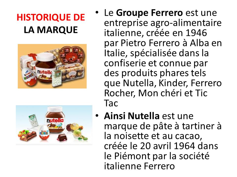 Nutella ppt video online t l charger for Marque de nourriture italienne