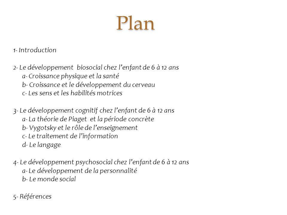 Plan 1- Introduction. 2- Le développement biosocial chez l'enfant de 6 à 12 ans. a- Croissance physique et la santé.