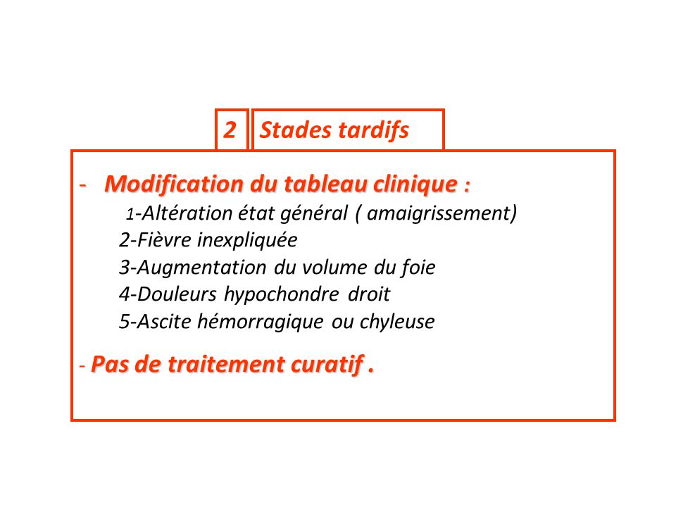 Modification du tableau clinique :