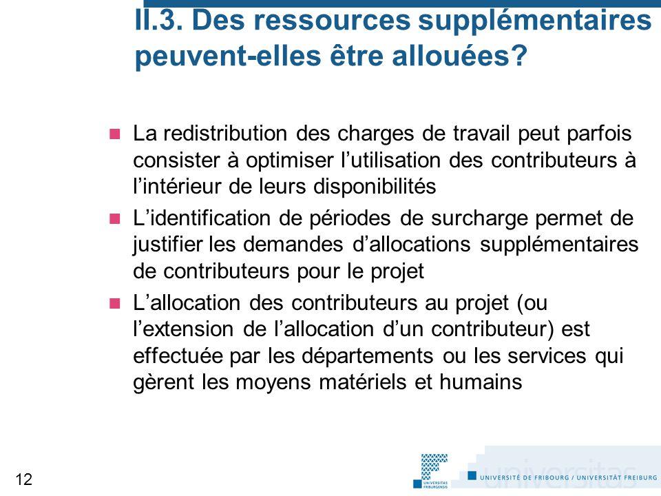 II.3. Des ressources supplémentaires peuvent-elles être allouées