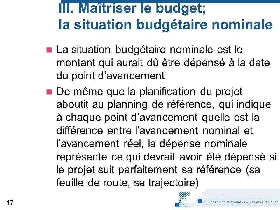 III. Maîtriser le budget; la situation budgétaire nominale