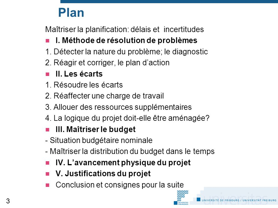Plan Maîtriser la planification: délais et incertitudes