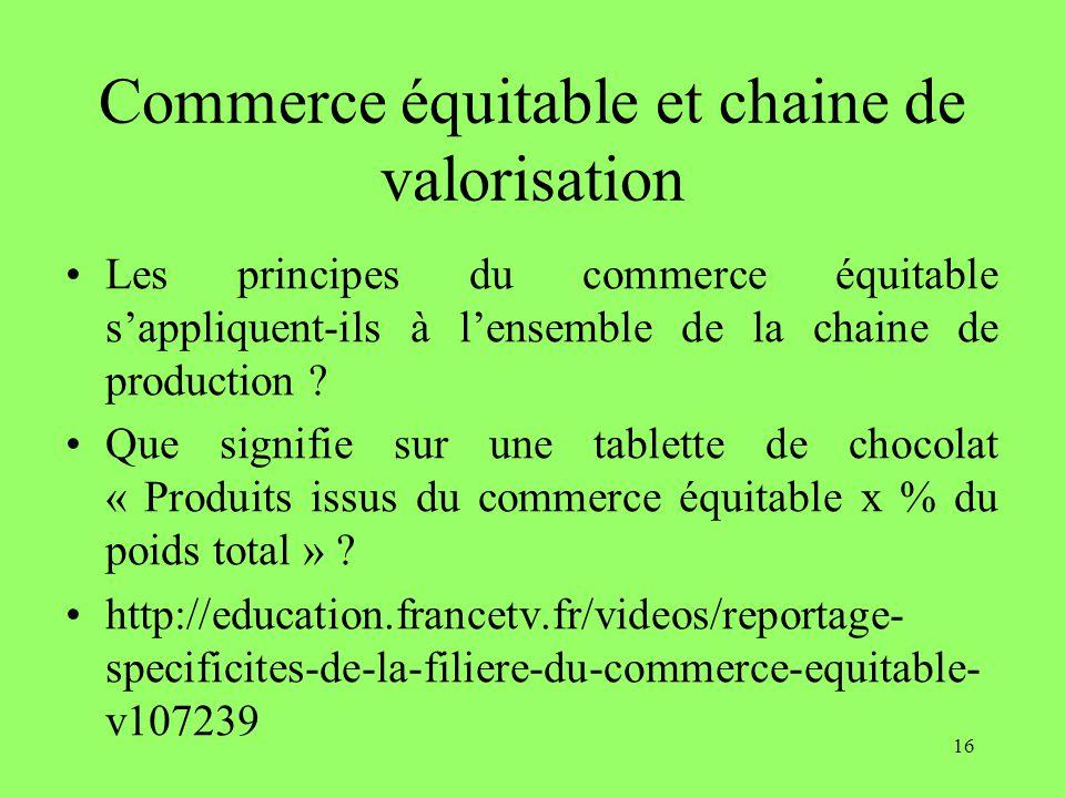 Commerce équitable et chaine de valorisation