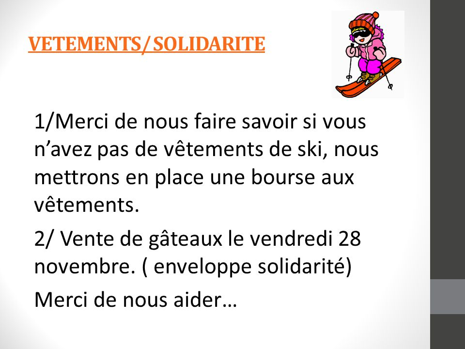 VETEMENTS/ SOLIDARITE