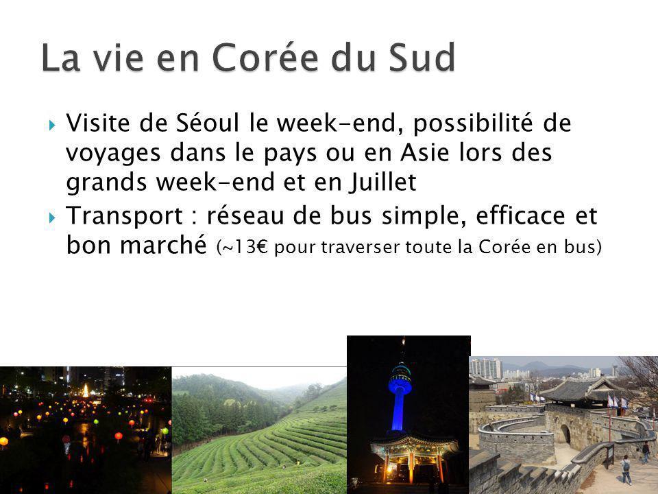La vie en Corée du Sud Visite de Séoul le week-end, possibilité de voyages dans le pays ou en Asie lors des grands week-end et en Juillet.