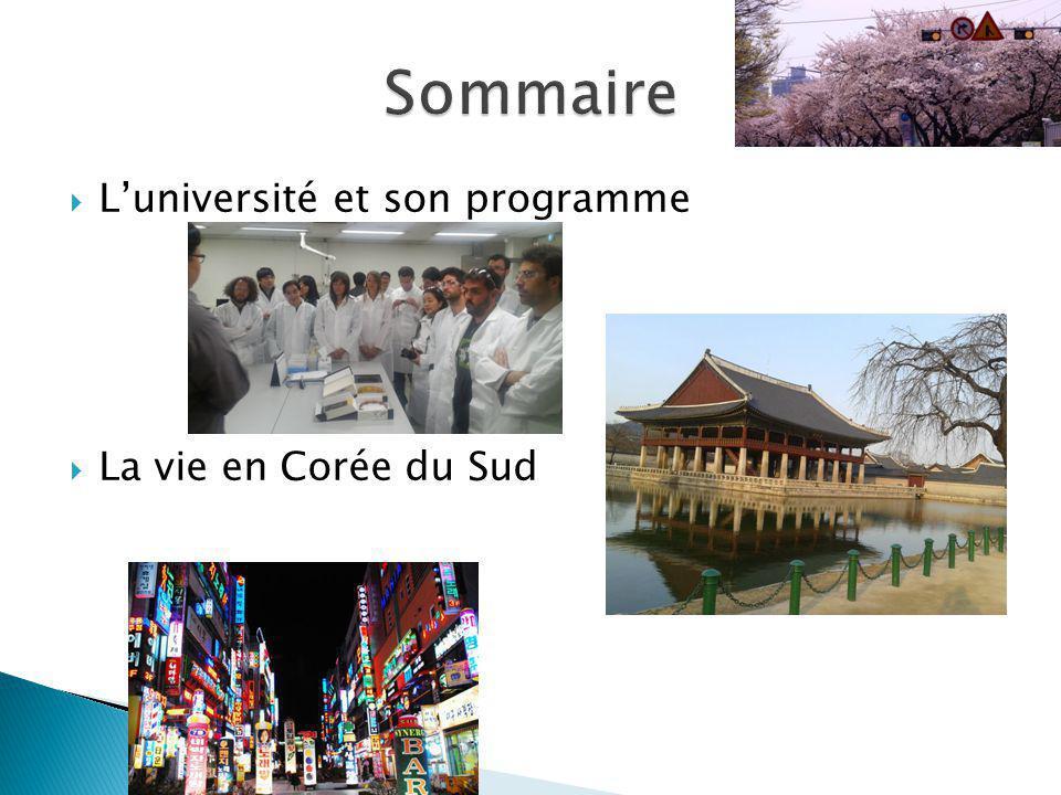 Sommaire L'université et son programme La vie en Corée du Sud