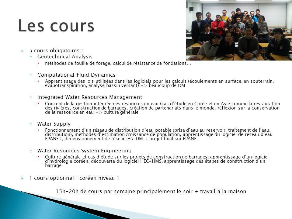 Les cours 5 cours obligatoires : Geotechnical Analysis