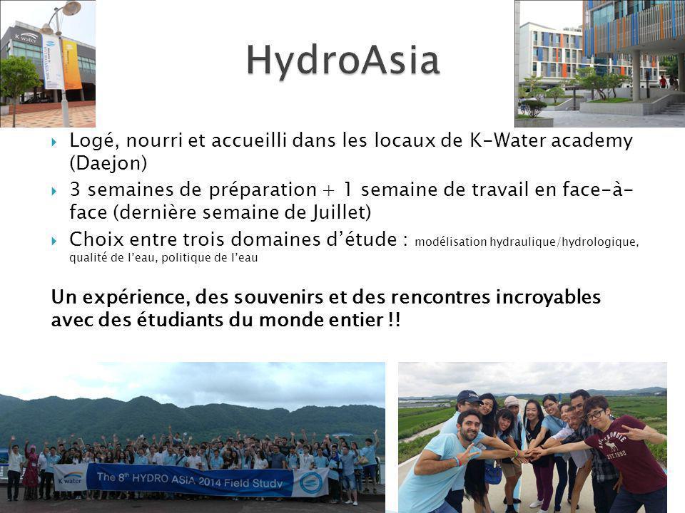 HydroAsia Logé, nourri et accueilli dans les locaux de K-Water academy (Daejon)