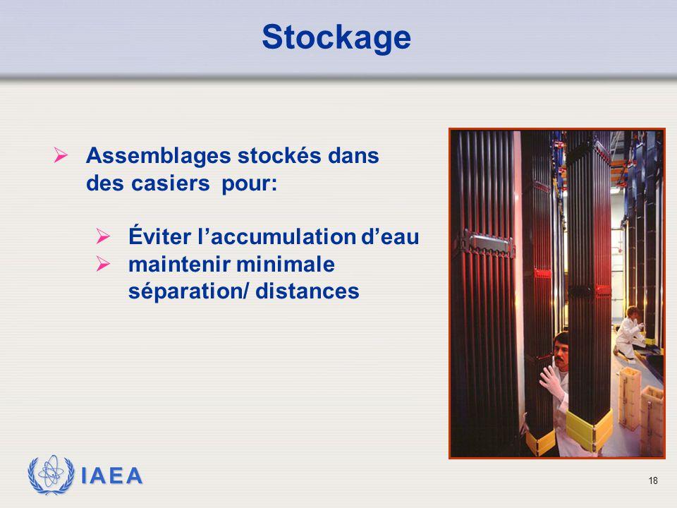 Stockage Assemblages stockés dans des casiers pour: