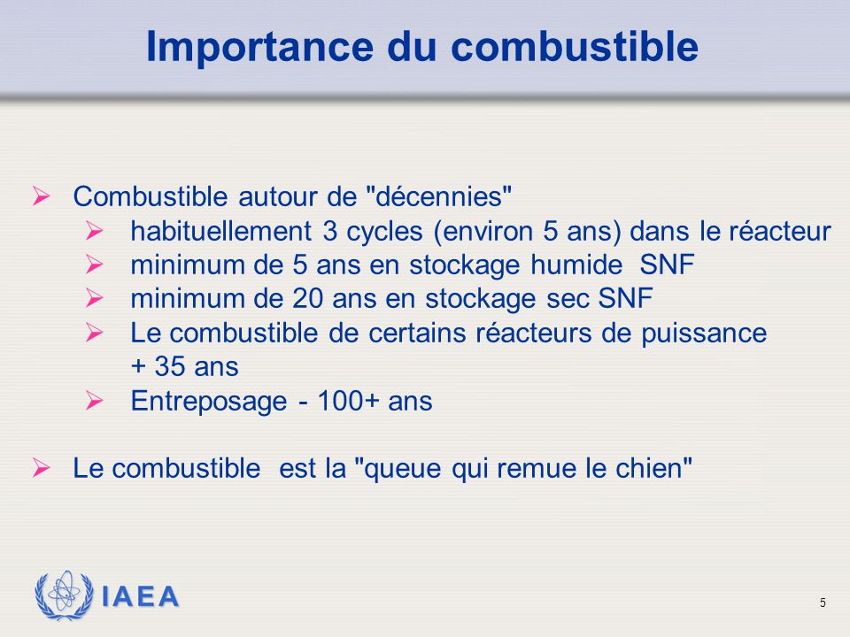 Importance du combustible