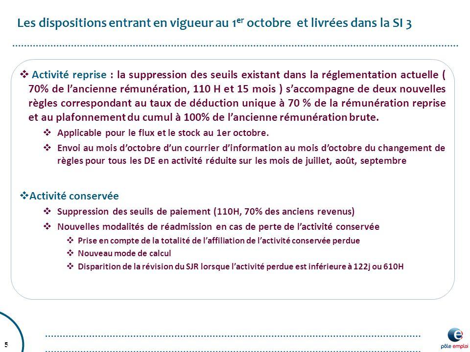 Les dispositions entrant en vigueur au 1er octobre et livrées dans la SI 3