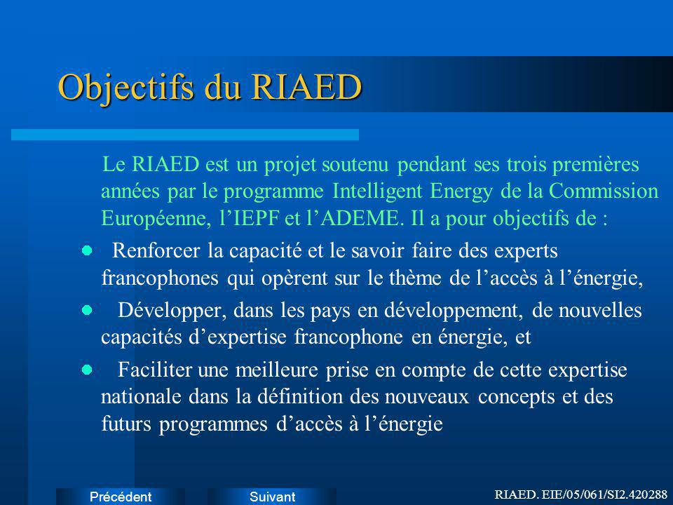 Objectifs du RIAED Instructions: