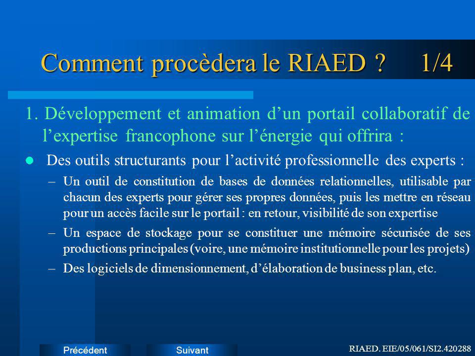 Comment procèdera le RIAED 1/4