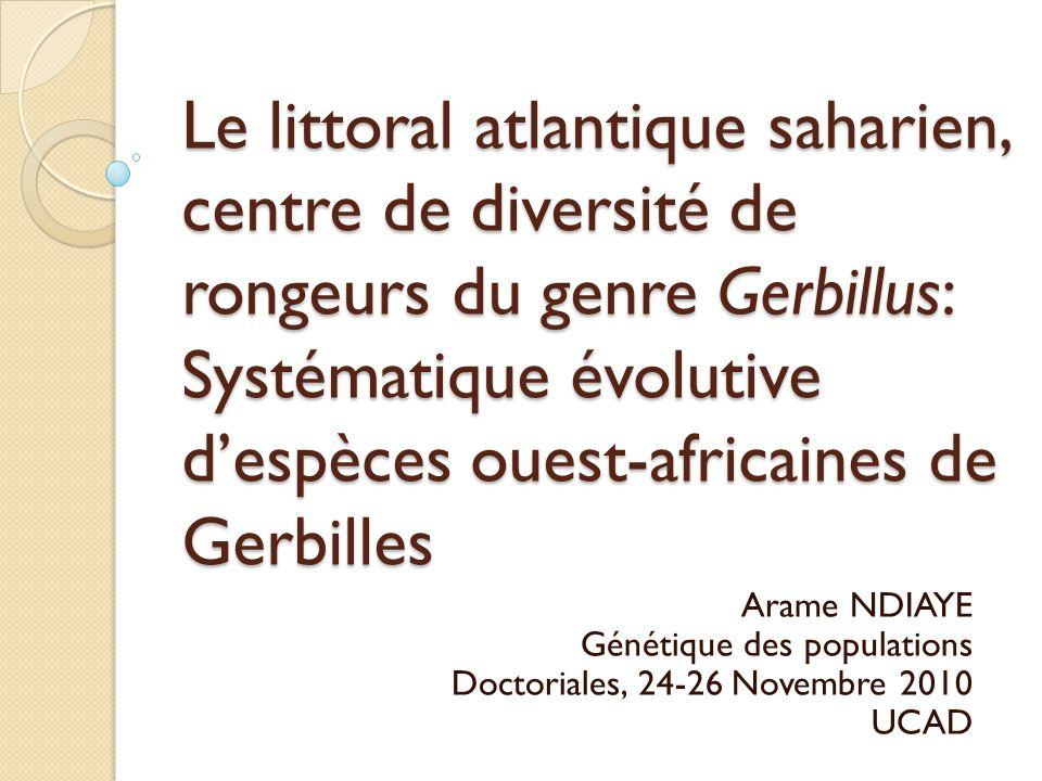 Le littoral atlantique saharien, centre de diversité de rongeurs du genre Gerbillus: Systématique évolutive d'espèces ouest-africaines de Gerbilles