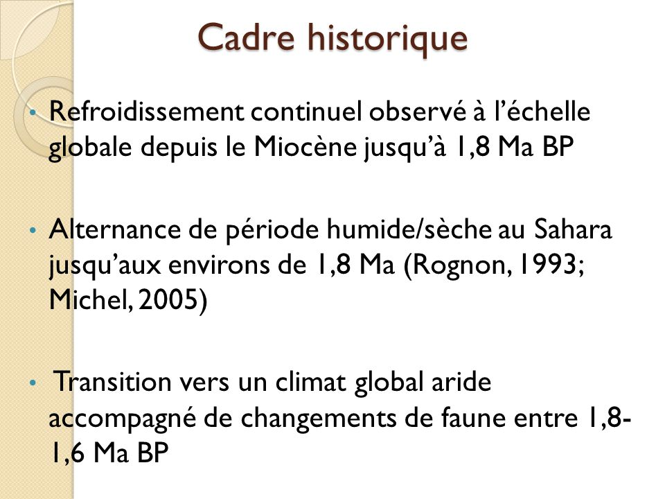 Cadre historique Refroidissement continuel observé à l'échelle globale depuis le Miocène jusqu'à 1,8 Ma BP.